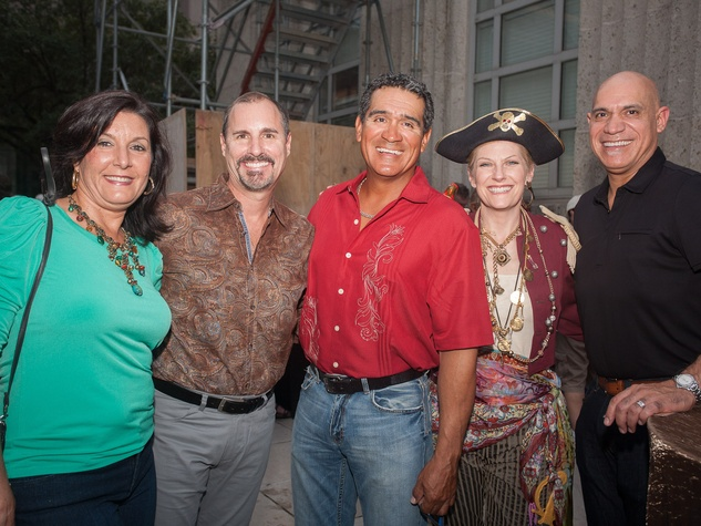 Dana and Chris Breining, from left, Freddy Lopez, Kelly Reynolds and John Lopez at Bayou City Art Festival Downtown's Art Heist