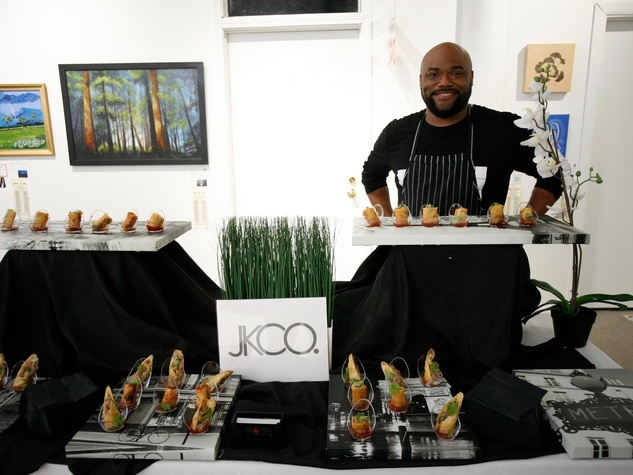 Javani King offered Art on the Avenue Preview Party guests a savory treat with pork and shrimp spring rolls with a Thai chili sauce