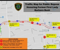 HPD Barbara Bush road closures map