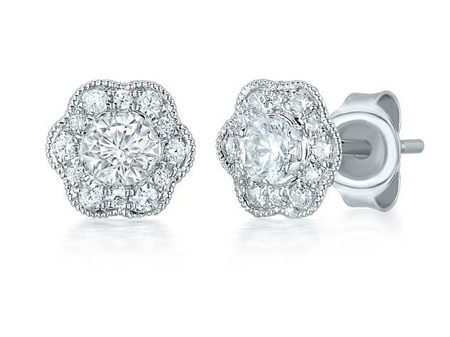Marchesa flower diamond earrings