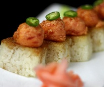 Crispy Rice & Spicy Tuna sushi roll at LOOK Cinemas