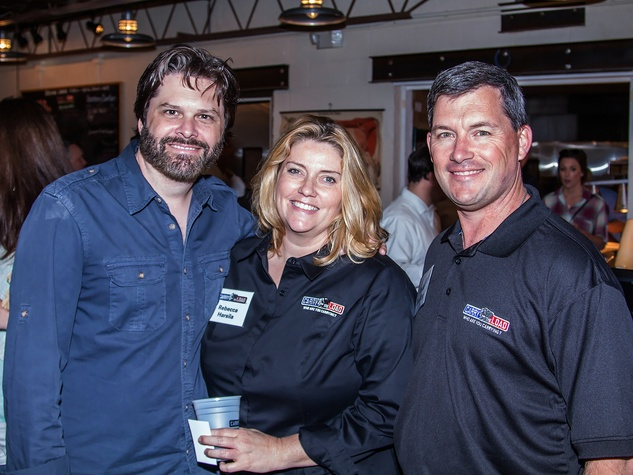 Gordon Keith, Rebecca Harsila, Todd Boeding at Carry The Load fundraiser dinner at Pecan Lodge