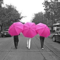 Pink at the Brown Houston umbrellas May 2013