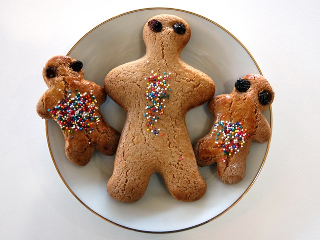 Three Brothers Bakery gingerbread cookies with sprinkles on a plate