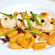 Preview Modern Seafood Cuisine scallops with sweet potato gnocchi, candied bacon and white truffle oil