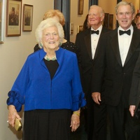 204 Barbara Bush, from left, James A. Baker III, George W. Bush and secret service at the Baker Institute 20th Anniversary Gala November 2013
