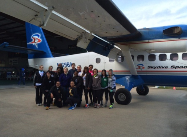 Annise Parker and crew skydiving