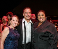 News, Shelby, Miller Outdoor Theatre gala, Oct. 2015, Miriam M Meyers(l) and June Deadrick with Tony Danza