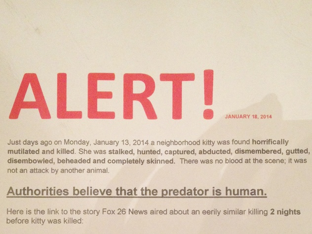 flyer on animal mutilations in Montrose January 2014 horizontal
