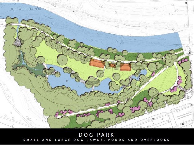 Buffalo Bayou Park dog map plan