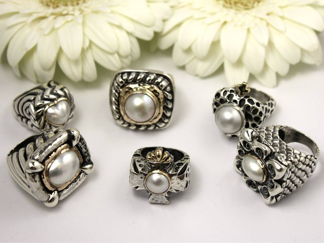 Dian Malouf pearl rings
