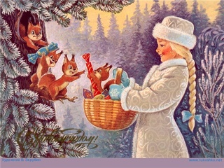 drawing of young Russian girl giving presents to squirrels