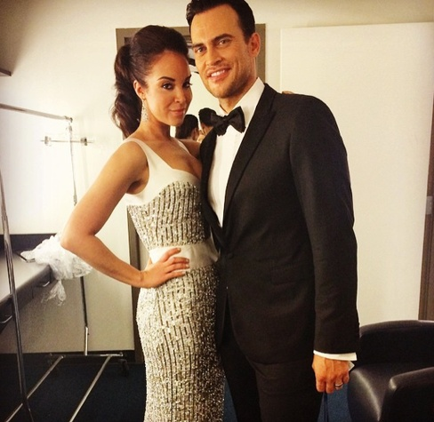 Alexandra Silber in Jonathan Blake gown with Cheyenne Jackson at Grammys