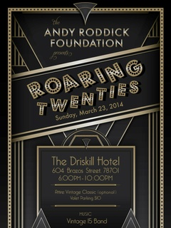 poster for Andy Roddick Foundation's Roaring Twenties party