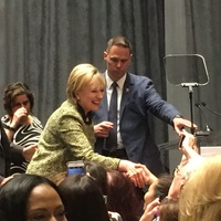 Hillary Clinton greets crowd at Annie's List luncheon