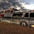 Bikinis, Texas retro bus exterior Hill Country