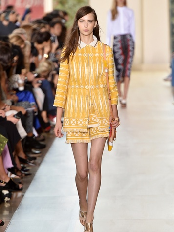 Fashion Week spring 2014 Tory Burch yello jacket with shorts