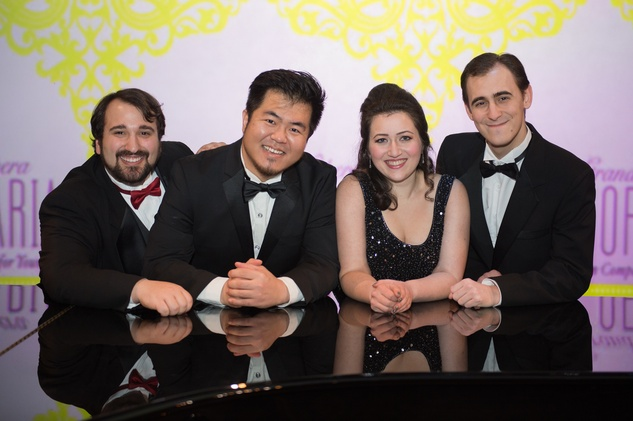 7 Chris Bozeka, from left, Youngzhao Yu, Mane Galoyan and Frederico De Michelis at the HGO Concert of Arias February 2015
