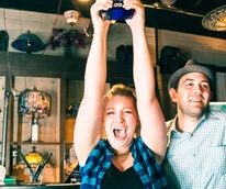 Lindsay Heffron, bartender, Liberty Station, with trophy