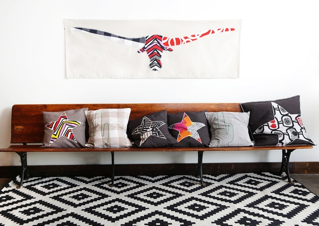 pillows and wall hangings made by Austin refugees for IKEA