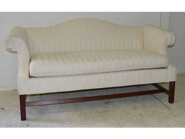 Sharon Bush auction white Chippendale-style sofa July 2014