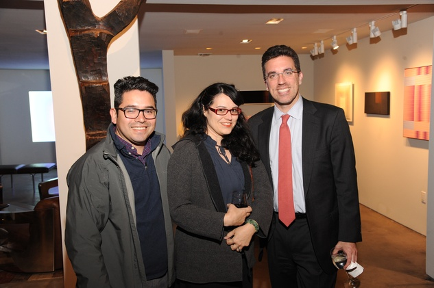 3 7179 Ernesto Alfaro, from left, Marie Rodriguez and Jamie Bennett at the reception for Jamie Bennett November 2014