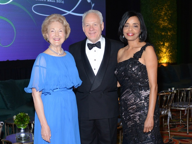 Joanie Haley, from left, Bob Bellomy and Renee Byas at the Houston Community College Gala February 2014