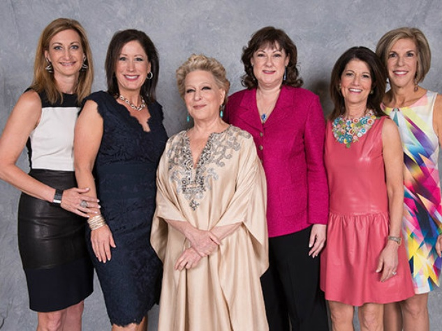 Beth Konig, Sheryl Pidgeon, Bette Midler, Cindy Ray Yablonsky, Laurie Platt, Linda Garner, woman to woman luncheon