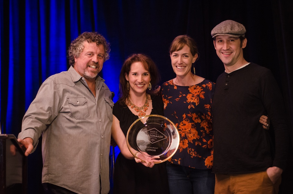 Chef Jack Allen and Jessica Dupuy pose for a photo with Todd Duplechan and Jessica Maher, who won Best Restaurant for Lenoir