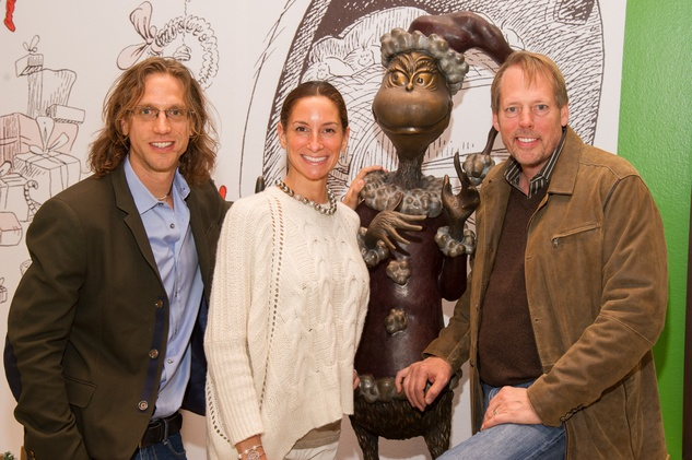 Bob Chase, Lisa Holthouse, Michael Holthouse at Children's Museum Grinch party