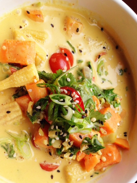 Lillo and Ella restaurant Kevin Naderi May 2014 mustard green and yam in Thai coconut sauce chili with baby corn and herbs