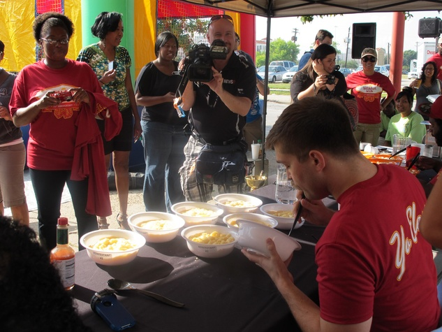 Breakfast Klub, grits eating contest, October 2012, contestant