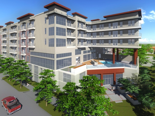 Memorial midrise multifamily development rendering July 2014 apartment complex