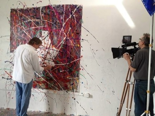 Van McFarland artist painting and being photographed December 2012