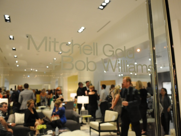 look through door at the Mitchell Gold + Bob Williams Houston grand opening celebration