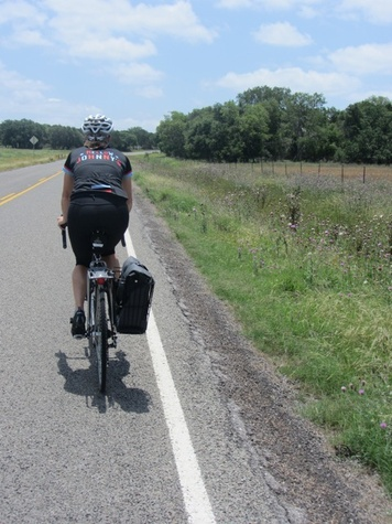 Julie Doheney leading the way along empty roads