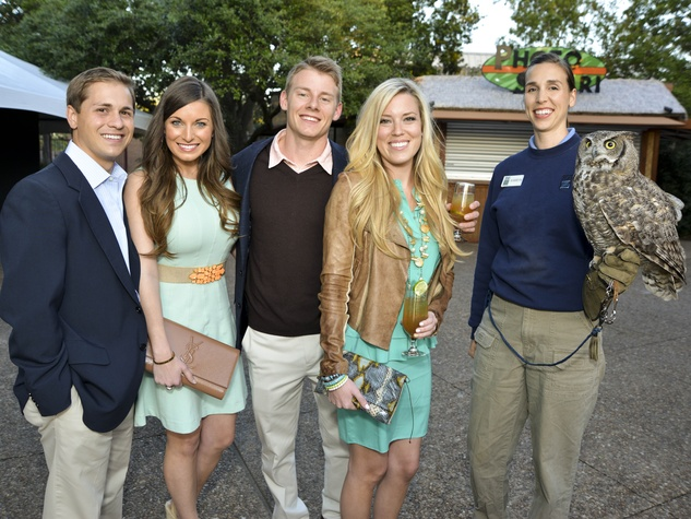 7 Houston Zoo Ball April 2013 Alan Appling, Ashley Chilivetis, Austin Alvis, Holly Smith, Kamryn - the Owl Handler