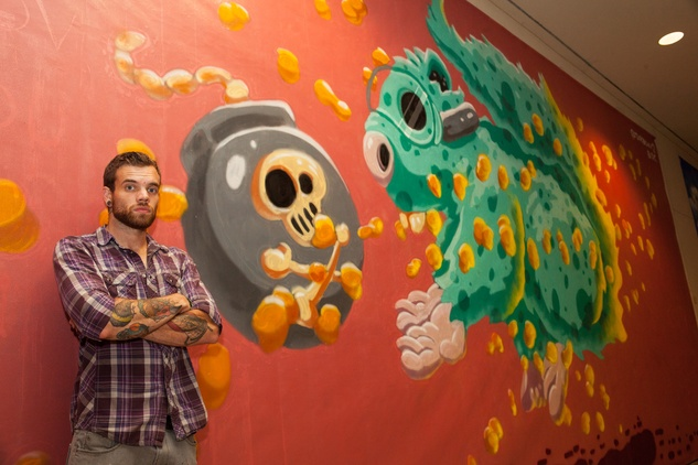 News, Shelby, Muir Gallery mural party, July 2015, Scott Tarbox