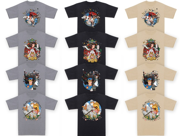 collection of Studio Ghibli shirts from Mondo Posters