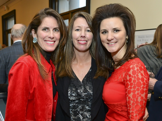 3 Carolyn Alban, from left, Deanna Armstrong and Traci LaChance at the Baker Institute reception December 2013