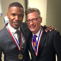 Jamie Foxx and Charles Renfro at 2015 Texas Medal of Arts ceremony