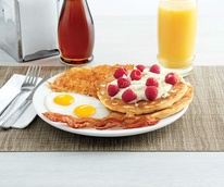 Drive-Thru Gourmet - Denny's white chocolate raspberry pancake breakfast