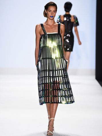 Fashion Week spring 2015 Project Runway metallic overlay