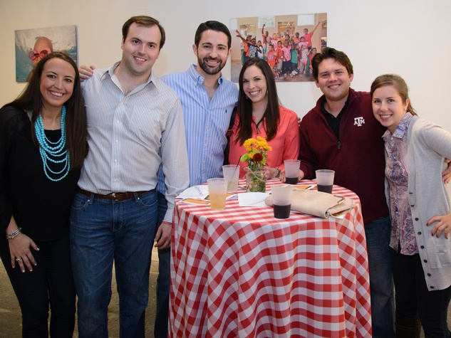 Joe and Courtney Peterka, from left, Zach and Brittany Powell, James Behanick and Amanda Brand at the Camp for All Culinary Challenge November 2013