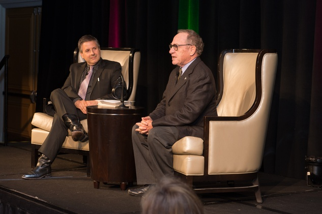 25 Ernie Manouse, left, and Alan Dershowitz at the Guardian of the Human Spirit luncheon November 2014
