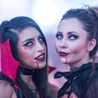 Vampire and Vixens Halloween party McKinsey Flores and Charity Sanchez