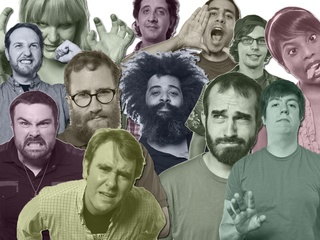 Collage of comedians featured at Punch stand up show