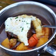 Beef Shoulder with Fried Egg, Carrots, Mashed Potatoes, Salty Sow
