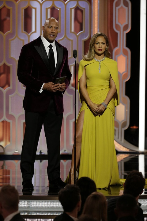 Dwayne Johnson and Jennifer Lopez at Golden Globes
