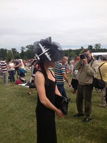 Janine Iannarelli postcards from Paris July 2013 airplane hat at the Prix de Diane
